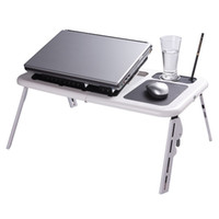 Wholesale Laptop Adjustable Table - Portable Adjustable Folding Laptop Table Foldable Laptop Stand Desk with 2 USB Cooling Fans Mouse Pad Zone for Sofa Bed Floor C1727