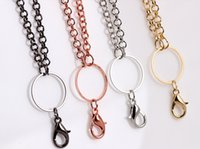 Wholesale Metal Charms Pendants Circles - Wholesale 10pcs lot Metal Long Floating Locket Chain   Necklace Fit For Magnetic Glass Charms Locket Pendant