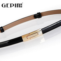 Wholesale Gold Items Models - Songs belt female fine decorative items and even wild patent leather skirt leather waist chain simple and stylish narrow belt female models