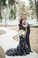 vestido de novia sirena corsé negro al por mayor-Apliques negros Vestidos de novia Vestidos de boda Sirena Lentejuelas Manga corta Vestidos formales Ver a través de la trompeta Corsé Vestidos de boda