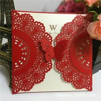 Wholesale Ivory Purple Wedding Invitations - Red Laser Cut Butterfly Wedding Invitations Wholesale Ivory Paper Inner Sheet White Envelope Wedding Supplies Bridal Party Invitation Cards