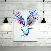 Wholesale Best Abstract Oil Paintings - Abstract Wall Art Handpainted Oil Painting Beautiful Flying Birds Paintings on Canvas Modern Art Best Gift Pictures Home Decor