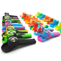 Wholesale Usa Portables - Stock in USA!silicone smoking pipe portable Cheap Colored Silicone tobacco smoking pipe Oil FDA water hand pipe