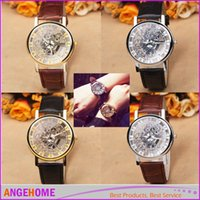 Wholesale Brown Glass Table - Fashion Men's Quartz Leather watch glass cutout transparent lovers table women's Dress Watches Lady Luxury Wristwatches 4 color