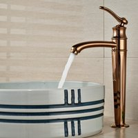 robinets hauts achat en gros de-En gros et au détail grand robinet de bassin de salle de bains Rose finition doré lavabo évier mitigeur mitigeur trou mitigeur