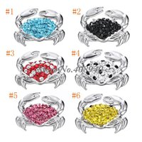 "Wholesale Rhinestone Crab - Snap Jewelry 5PCS ""Crab"" Shaped Ginger snap button Fit Snap Button Bracelet and Button Pendant Rhinestone Delicate LSSN08*5"