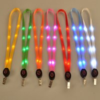 Wholesale Outdoor Nylon Cord - Fashion Nylon Multi-colors Led Flashing Lanyard ID Card Pendant Hanging Cord For Party,Shows and Outdoor Activities Led Lighted toys C3314