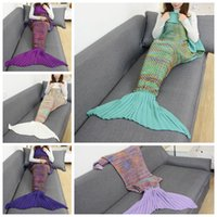 Wholesale couch blankets - Mermaid Tail Blanket 180*90cm Hand Knitting Color Grid Crochet Wrap Warm Soft Knitted Wrap Sofa Couch Bed Car Blankets 30pcs OOA3556