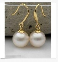 Wholesale South Sea Gold Loose Pearl - Wholesale Free shipping----- a pair of NATURAL AAA 12MM SOUTH SEA GENUINE white Perfect LOOSE shell PEARL EARRING 14K YG perfect gift
