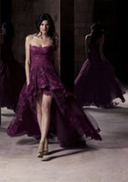 Wholesale Hi Lo Dresses Sweetheart Purple - Sexy Purple Lace Evening Dresses 2016 Occasion Dress A-Line Sweetheart Tiers Pleated Hi-Lo Formal Prom Gowns Party Celebrity Arabic Qatar