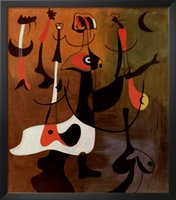 Wholesale Miro Paintings Reproductions - Personnages Rythmiques,oil painting reproduction of Joan Miro Painting Canvas,High quality,Abstract art,Hand-painted