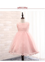 Wholesale Toddlers Blue Summer Dresses - Children's day dress baby Girl Dresses Ball Gown Lace bow Princess Dress for Wedding Party Pageant Toddler kids birthday dress 0-2T A5764
