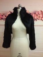 Wholesale long sleeve fur bolero jacket for sale - Group buy Fashion Black Faux Fur Coat Bridal Wrap Long Sleeve Jacket Shawl Cape Stole Bolero Ivory Fake Fur Bridesmaids Cape