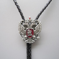 Wholesale Double Head Necklace - Western Tie Clips Bolo Tie For Men Original Russian Double Headed Empire Eagle Rhinestone Bolo Tie Necklace BOLOTIE-WT041AS