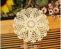 Wholesale Free Crochet Placemats - Wholesale- Free shipping Crochet Beige 16CM Round Placemats Cotton Coasters Insulation pads Mats Lamp pad   mat vase ( 20PCS)