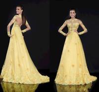 Wholesale Tarik Ediz Gowns - Tarik Ediz Spring Long Sleeve Prom Dresses Evening Gown Appliques Hand Made Flower Beads Sequin A-Line Yellow 2015 Prom Dress Gold