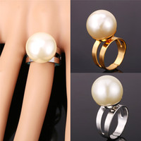 Discount jewellery box gifts - New White Pearl Cool Rings For Women With Gift Box 18K Yellow Gold Plated 18MM Big Size Adjustable Jewelry Jewellery YR1215