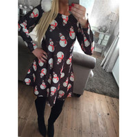 Wholesale plus size womens elegant clothing - 2017 Dresses For Womens With Print Christmas Vestidos Winter Dresses Plus Size Women Clothing Casual Dress Party Elegant A-Line Clothes