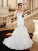 Wholesale Short Wedding Dress Long Tail - NWD2 2017 fashionable of bride beading mermaid wedding dress fish tail train plus size custom made bridal gown dresses vestido de noiva