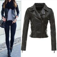 Wholesale Crop Leather Jacket Women - Wholesale-2015 fashion style Jacket Jaqueta Feminina Black Zipper jacket Ladies PU leather Crop Motorcycle Faux coat