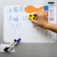 """Wholesale Wholesale Eraser Board - Wholesale- A3 297mm*420mm Magnetic Dry Erase White Board 17"""" x 11"""" For Fridge Refrigerator Message Board with free Pen & Eraser"""