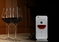 Wholesale Transparant Plastic - 3D Red Wine Cup magic Crystal clear transparant plastic Flowing Cover For Apple iPhone 5s 6 6Plus Phone Cases
