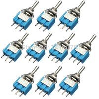 Wholesale 125v Ac Free Shipping - 10Pcs New Blue 3 Pins ON OFF ON 3 Position SPDT Toggle Switch AC 125V 6A Waterproof FREE SHIPPING
