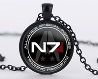 Wholesale halloween mass - Mass Effect Inspired N7 pendant necklace vintage glass pendant Necklace jewelry best friend gift bijouterie Christms