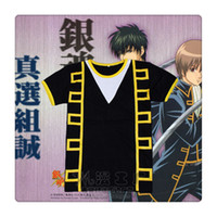 Wholesale Cosplay Gintama Free Shipping - Free Shipping! Anime Gintama Silver Soul Cosplay Hijikata Toushirou Cosplay Costume Short Sleeve T-Shirt Tops Tee Shirts