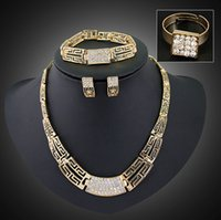 Wholesale Costume Jewlery Necklace Sets - Free Shipping African Gold Plated Charming Fashion Romantic Bridal Fashion Necklace Crystal Vintage Women Costume Jewlery Sets -J367