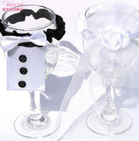 Wholesale Men Gown Wedding - Wedding Decorations champagne flutes cup Decorations band holders Men bridegroom suit women Bridal Gowns party supplies gift 50pcs