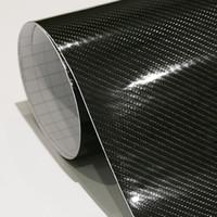 Wholesale Car Wrapping Carbon Accessories - Exterior Accessories Car Stickers Car Styling 152cm*30cm High Gloss 5D Black Carbon Fiber Vinyl Film Carbon Fibre Car Wrap Sheet Roll Film