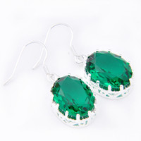 6 paires Luckyshine Superb Fire Oval Shiney Green Quartz Gems 925 Boucles d'oreilles plaqué argent sterling Russia Canada Dangle Earrings Jewelry