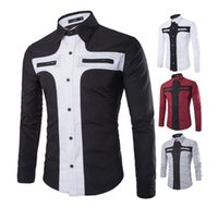 Wholesale Stitching Designs Shirts - New Mens Long Sleeved Dress Shirts Double Collar Button Unique Design Slim Fit Brand Shirts Double color stitching