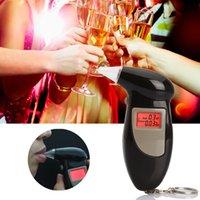 Wholesale Digital Breath Alcohol Tester Mouthpieces - Car Styling LCD Digital Alcohol Breath Analyzer Tester + 4 Mouthpieces Alcotester Detector the Breathalyzer Test Meter Detector Tools