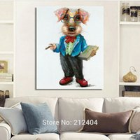 ingrosso pittura ad olio per la decorazione della camera da letto-Modern Cartoon Animal Dogs Dipinto ad olio dipinto a mano su tela senza cornice Wall Art for Living Room Bedroom Decoration