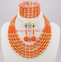 Wholesale African Coral Beads Necklace Sets - Latest Nigerian Wedding Jewelry Set Coral Jewelry Set African Coral Beads Jewelry Set Necklace+Earring+Bracelet TT102-8