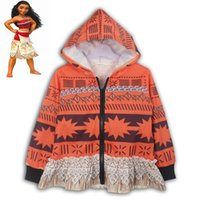 Wholesale Cool Girl Costumes - Child Girls Spring Autumn Hoodie Halloween Funny Costume Jacket Moana Maui Cosplay Fancy Zip Sweatshirt Cool Clothes Gift For Kids