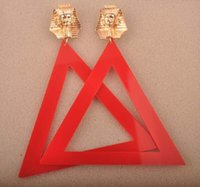 Wholesale Triangle Metal Studs Gold - European Fashion Jewelry Personality Metal Gold Pharaoh Big Acrylic Triangle Stud Earrings For Women Hot Wholesale