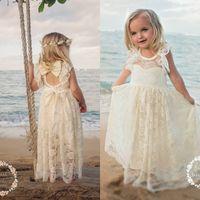 Wholesale Simple Flower Dresses Kids - 2017 Cute Beach Lace Flower Girls Dresses For Weddings Long Floor Length Simple A Line First Communion Dresses Kids Formal Wear