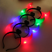 Wholesale Led Hair Costume - Ox Horn Headband Halloween LED Light Up Hair Hoop Four Colors Plastic Head Band Costume Fancy Party Accessories 1 19by B