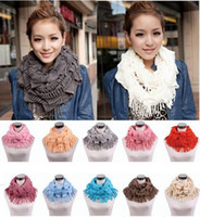 Wholesale Infinity Scarf Knitting - Womens Winter Warm Knitted Layered Fringe Tassel Neck Circle Shawl Snood Scarf Cowl Girl Solid Long Soft Infinity Scarves Wraps
