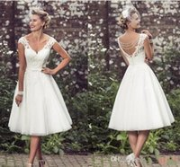 Wholesale backless lace wedding dress tea for sale - Luxury New Elegant Tea Length Wedding Dresses V Neck Cap Sleeves Appliques Lace Tulle Ball Gown Short Wedding Dresses