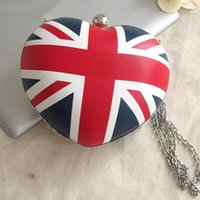 Wholesale England Flag Tote - New UK England Flag Heart Shaped Women Messenger Bag Chain Purse Mini Box Crossbody Shoulder Day Clutch Tote Evening Bag Handbag