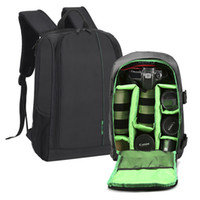 Wholesale dslr camera bag waterproof - New Polyester Material Outdoor Waterproof Multifunctional DSLR Camera Backpack With Big Laptop Pocket and Tripod Hanging Belt.