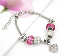 rosa rosa para pulseiras venda por atacado-Frete Grátis Nova Chegada Encantos Estilo Europeu Resina Rosa Beads Rose Bead Coração Charme Pulseiras para o Presente de Feriado dos Namorados