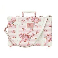 Wholesale Vintage Toiletry Bag - Carry -On 13 Inch Waterproof toiletry bags Vintage Trunk Box Travel Cosmetic Bag Small Suitcase Floral Decorative Box With Straps For Women