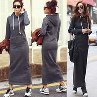 Wholesale Sweater Dress Pockets - HOT Fall Winter Women Black Gray Sweater Dress Fleeced Hoodies Long Sleeved Slim Maxi Dresses S M L XL XXL Soft Warm Winter Dress M176