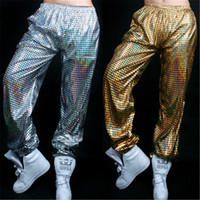 Wholesale Stage Clothing Gold - Women Men Slim Harem Pants Christmas Stage Wear Shine Dance Costumes DS Hip Hop Baggy Trousers Hip-hop Dancing Clothing Pant Jazz Dancewear