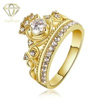 New Design Charm Crown 24K / Rose Gold Plated com AAA + Cubic Zirconia Diamond Rings Jóias de Moda para Mulheres Party Birthday Gift